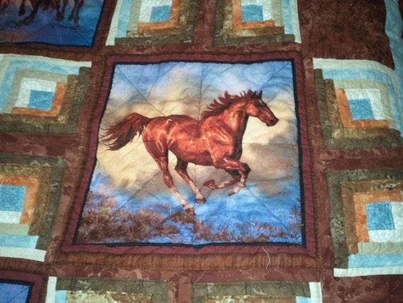 Horse Quilt Nature Quilt Wild Animal Quilt Camoflauge