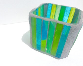Cube candle holder, mosaic votive with stripes in lime and electric blue, glass candle holder, modern home decor, housewarming gift
