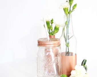 Copper Daisy Ball Mason Drinking Jars 500ml