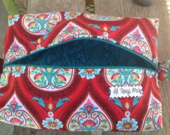 Red Zipper box pouch,Dopp Kit,Makeup Bag,Nurse Bag,Pencil Case,Accessory Bag,Cosmetic Bag,Travel Case,Stroller Bag