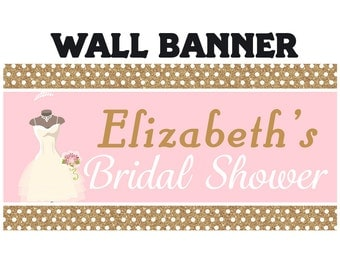 Gold Bridal Shower Personalized Banner - Pink Wedding Party Banner - Large Wedding Dress Banners