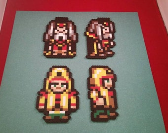 Final Fantasy VI/Final Fantasy III (US) perler bead sprite Gestahl and Cid choose from 1 of 4 stances or get all 4, plain or magnet