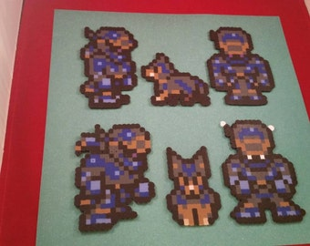 Final Fantasy VI/Final Fantasy III (US) perler bead sprite Shadow and Interceptor choose from 1 of 6 stances or get all 6, plain or magnet