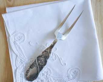 Swedish silver plated carving fork for ham, turkey and other meat