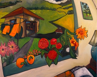 Original Oil Painting - A Dream Of Persimmons - by Douglass Truth, Oil Painting with Flowers