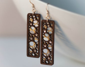 Layered Wood Circles Statement Earrings with Swarovski Crystals