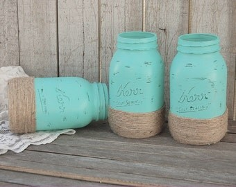 Beach Mason Jars, Aqua, Shabby Chic, Painted Mason Jars, Jute Wrapped, Hand Painted, Distressed, Wedding, Beach, Dorm, Office, Decor