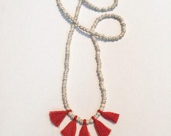 tassel necklace || magnesite stones