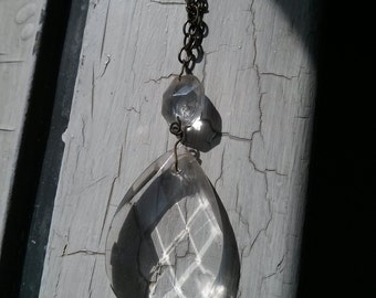 Upcycled Crystal Chandelier with Metal Chain necklace
