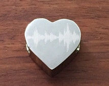 Heart Charm Engraved With Soundwave, Stainless Steel Charm, Fits Pandora Bracelets