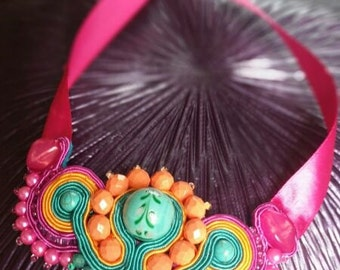 Soutache Necklace Upcycled Handmade