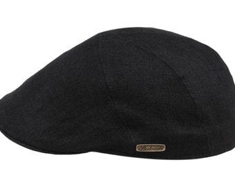 5 Panels Summer Pure 100% Linen Flat Cap - black