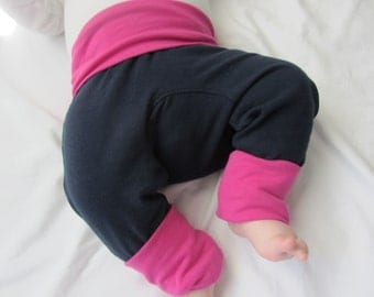 Navy and Pink Cloth Diaper Pants  Monster Bunz  Maxaloone Style Baby Pants