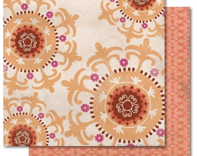 "2 Sheets of My Mind's Eye INDIE CHIC Saffron ""Create"" 12x12 Scrapbook Paper - Ornament"