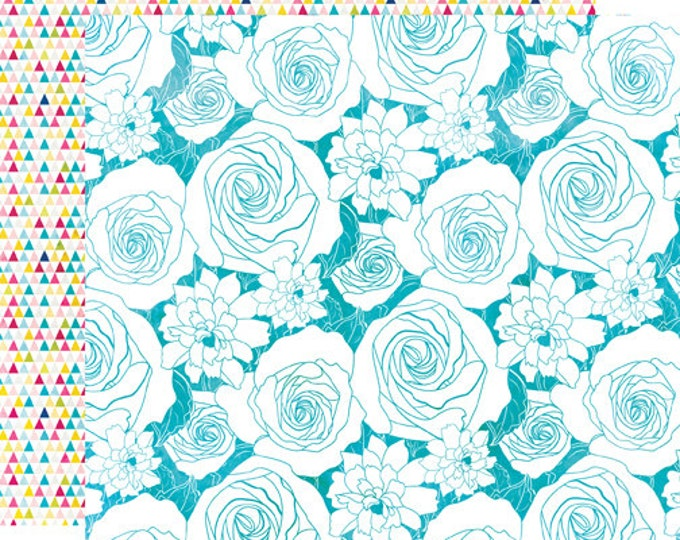 2 Sheets of Echo Park Paper HERE & NOW 12x12 Scrapbook Paper - Flower Buds