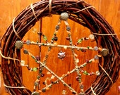 Wicca Pentacle Handcrafted Pentacle Wreath, Gemstones Grapevine Wood, Wire, Beads