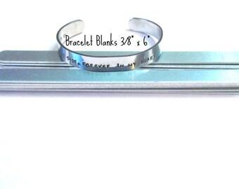 3/8 x 6  -  14 Gauge Bracelet Blanks -Aluminum - bracelet components - bracelet strips  - Protective film both sides