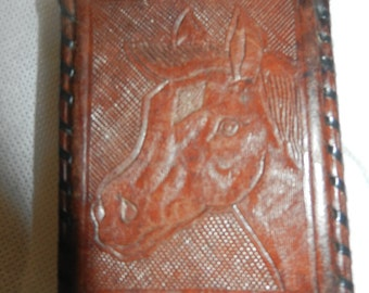 Vintage Hand Carved Leather Cigarette Case - Made in Mexico - Circa 1950