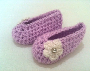 Crochet Ballerina Baby Shoes With Flowers