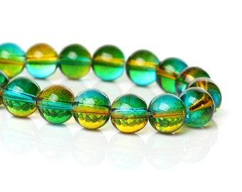 Yellow Green Shadow Glass Beads