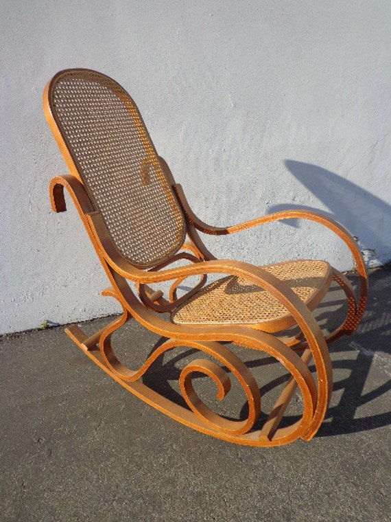 thonet style bentwood inspired rocker armchair rocking chair mid