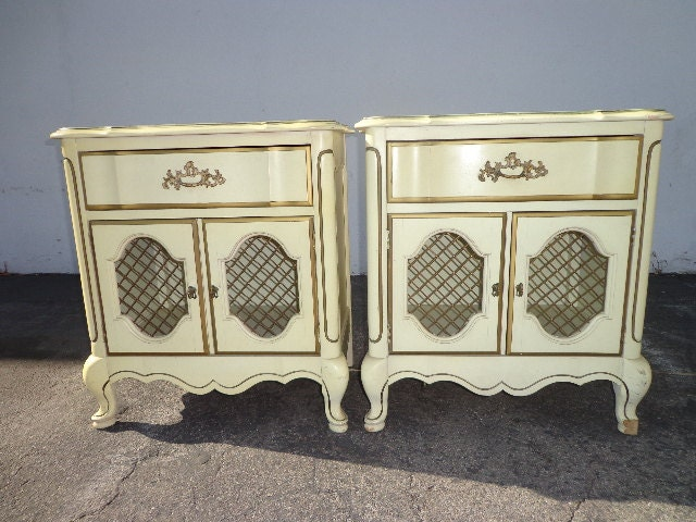 2 bassett french provincial nightstands bedside tables dresser for French nightstand bedside table
