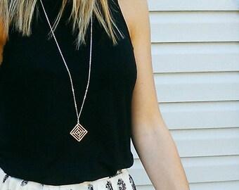 SALE | Silver Square Necklace | Geometric | Pendant Necklace | Tribal | Long Pendant Necklace | Square Necklace | Geometric Necklace