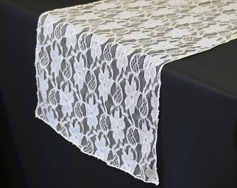 YourChairCovers - 14 X 108 Inch Lace Table Runner White