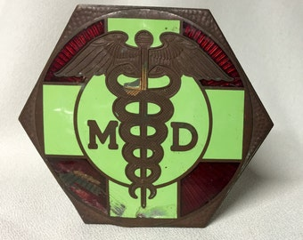 Vintage M.D. Doctors Car Tag - Early 1900s