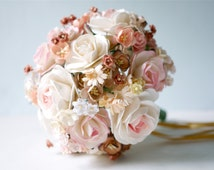Paper Flower 1 Bouquet for wedding party, Size  16x17 cm., pink brush, brown, rusty, ivory and white colors.