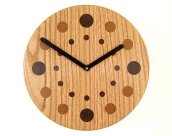 Handcrafted Oak Wall Clock with Walnut and Cherry Numbers
