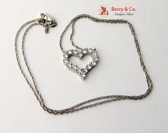 Lovely Open Heart Pendant Necklace Sterling Silver CZ