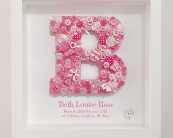 Personalised Girl's Button Initial 23cm x 23cm Frame - Letter and colour of your choice