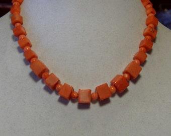"Cynthia Lynn ""JUBILANT"" Orange Rustic Coral Graduated Cube & Round Bead Necklace 16-18"""