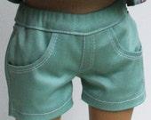 Mint Green Stretch Twill Jean Shorts fit 18 inch dolls