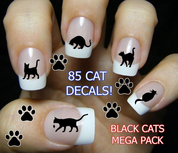 BLACK CATS Nail Art (bc3) 85 Water Slide Transfer Decals MEGAPACK - Cat lovers Wraps Nail not Stickers