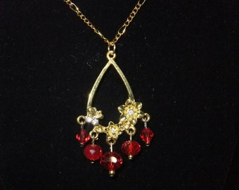 Red Flower Chandelier Necklace