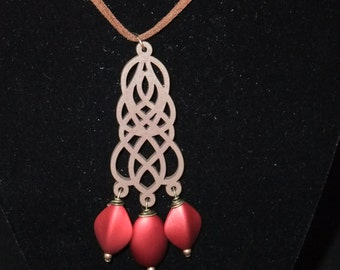Red Filigree on Brown Suede Cord