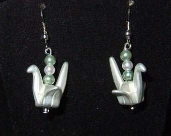 Origami Swan Earrings