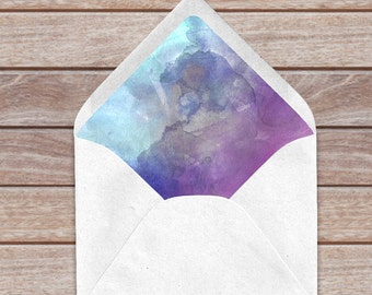 Watercolor Envelope Liners Great For Wedding Invitations And More | 5 Sizes - a9, a7, a6, a2 and 4 Bar | Download & Print
