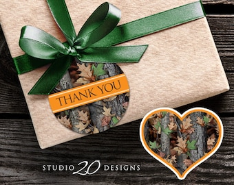 Instant Download Camo Thank You Tags, Hunter Orange Camouflage Printable Gift Tags, Realistic Camo Birthday or Baby Shower Favor Tags 31E