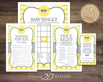 Instant Download You Are My Sunshine Baby Shower Games, Gender Neutral Yellow Grey Sun Baby Games Pack, Sun Theme Baby Shower Games 72B