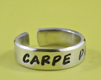 Carpe Diem Ring - Hand Stamped Aphorism Ring, Latin Word Band Cuff Aluminum Ring, Seize The Day, Inspirational Jewelry