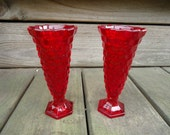 Fostoria American Pattern Ruby Red Flared Vases