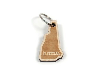 New Hampshire Home Key Charm by State Apparel: Laser Engraved Wood Keychain, NH