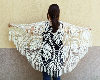 Large Triangle Ivory Lace Crochet Summer Scarf, Lace Wrap Shawl Accessory