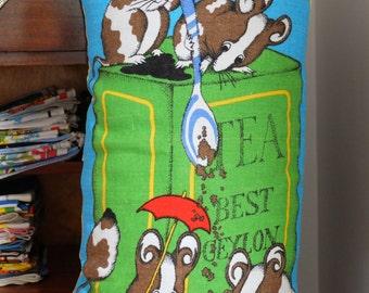 Vintage Mouse 'Tea Party' Tea Towel Cushion