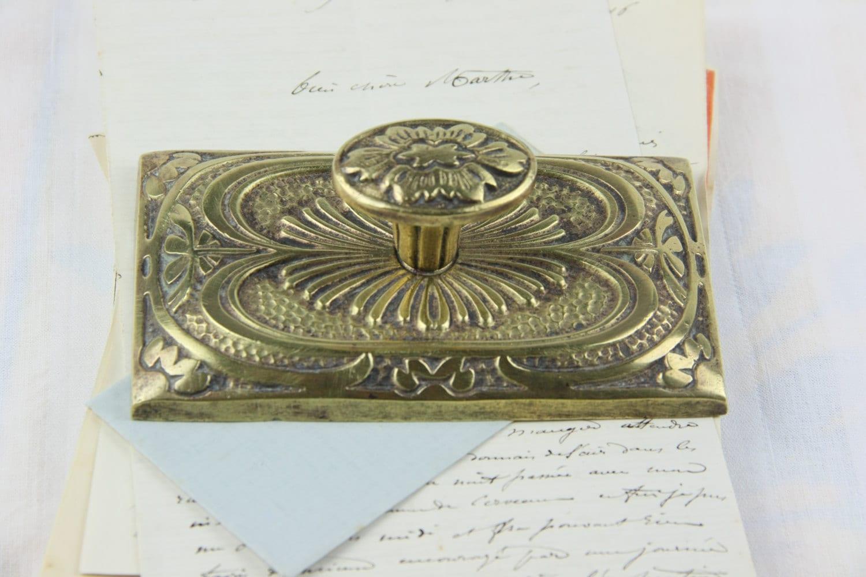 Antique Brass Paper Weight Knob Handled Metal Art Deco Heavy