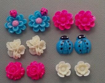 12 pcs resin cabochon flowers ,assorted sizes,#FL046