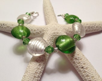 Lime Green and White Glass Bracelet